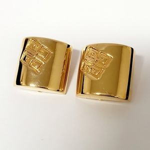 Vintage GIVENCHY clip on, Gold  Tone Earrings